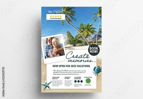 Obraz Beach Hotel Advertisement Poster Layout - fototapety do salonu