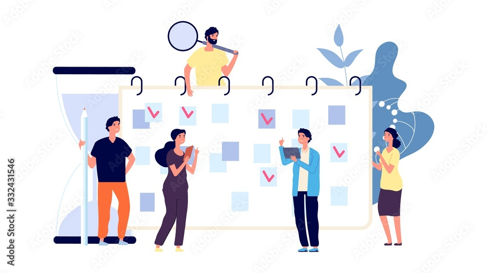 Fototapeta Businesspeople planning work day. Office workers and time management. To do list, men and women discuss about plan vector concept. Day plan businesspeople, business work week illustration