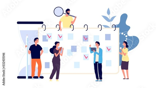 Obraz Businesspeople planning work day. Office workers and time management. To do list, men and women discuss about plan vector concept. Day plan businesspeople, business work week illustration - fototapety do salonu