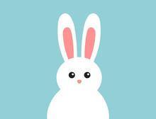 Easter Fluffy White Bunny On B...