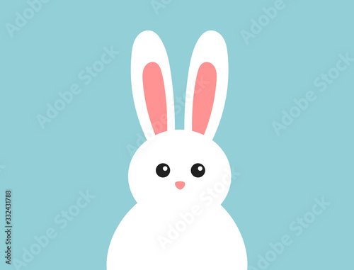 Easter fluffy white bunny on blue background.