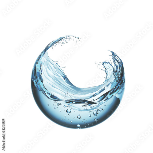Fotografia water liquid splash in sphere shape isolated on white background, 3d illustration