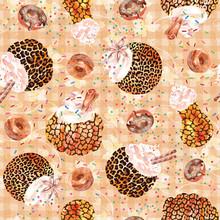 Pumpkin Spice Latte Coffee And Donut Thanksgiving Autumn Background, Leopard Animal Print