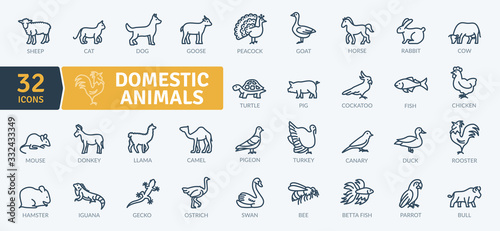 Domestic Animals Icons Pack. Thin line animal icons set. Flaticon collection set. Simple vector icons