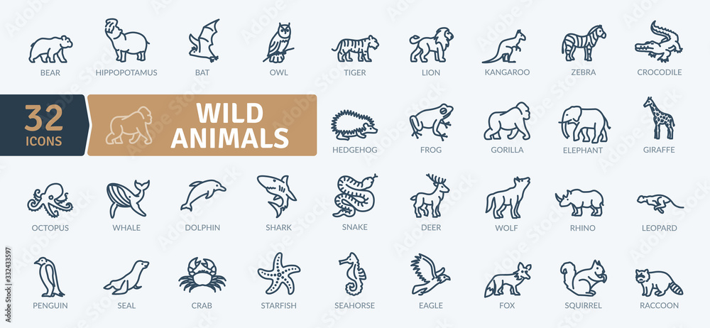 Fototapeta Wild Animals Icons Pack. Thin line creature icons set. Flaticon collection set. Simple vector icons