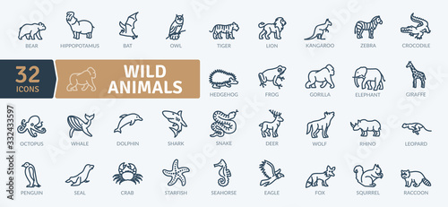 Wild Animals Icons Pack Wallpaper Mural