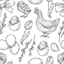 Chicken Pattern. Hand Drawn Ar...