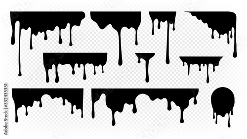 Fototapety, obrazy: Dripping ink. Melting paint, liquid drops black oil. Isolated splashes, graffiti elements. Spray stream or flow trickle vector set. Dripping melting, spatter graffiti illustration
