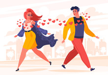 Man And Woman Fallen In Love. Love At First Sight. Flat Cartoon Style. Saw Each Other On The City Street. Vector Illustration With Hearts And Stylish Modern Character On Love And Relationship Theme.