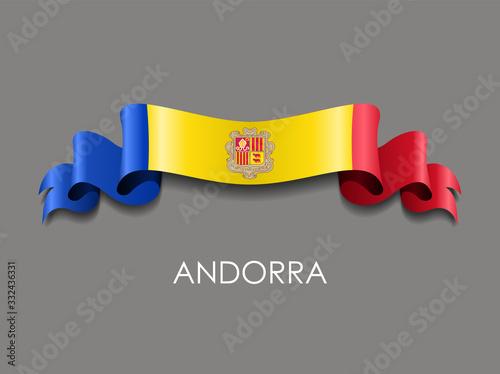 Andorran flag wavy ribbon background. Vector illustration. Canvas Print