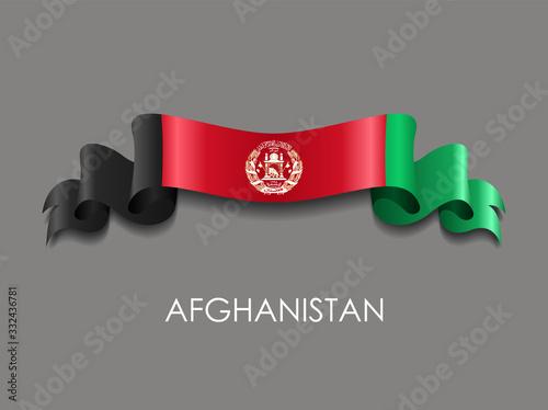 Afghani flag wavy ribbon background. Vector illustration. Canvas Print