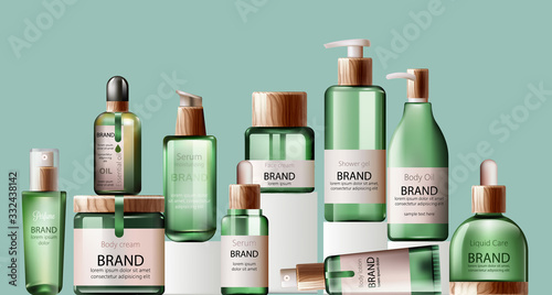 Fototapeta Set of various health care and spa green bottles. Body oil, lotion, serum, shower gel and perfume obraz