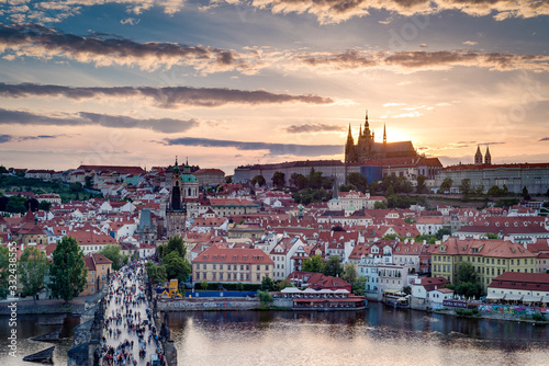 Charles Bridge, a historic bridge in Prague, Czech Republic. Wallpaper Mural