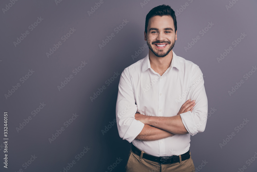 Fototapeta Photo of young macho business man employer meet colleagues corporate seminar friendly smiling arms crossed wear white office shirt pants isolated grey color background
