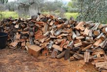 Stack Of Freshly Cut Wood Logs