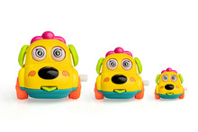 Yellow Toys Car Wind Up.Toys For Children 6  Months, On White Background