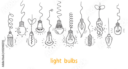 Vector Set of Hand drawn Hanging Light Bulbs and Wires Canvas Print