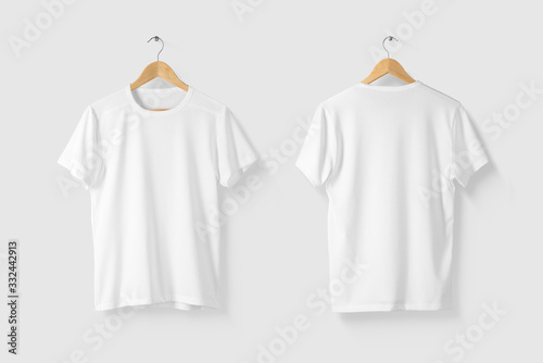 Fotografia, Obraz Blank White T-Shirt Mock-up on wooden hanger, front and rear side view
