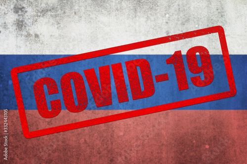 Photo National flag of Russia. Grungy effect.