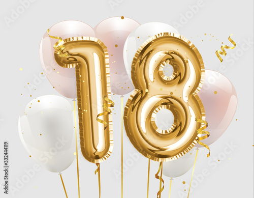 Papel de parede Happy 18th birthday gold foil balloon greeting background