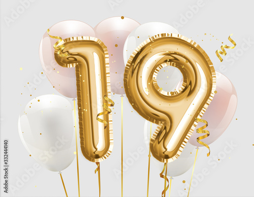 Photo Happy 19th birthday gold foil balloon greeting background