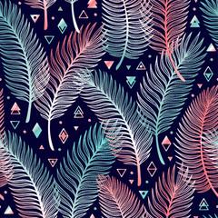 Tropsko lišće palme s geometrijskim oblicima vektor bešavnog uzorka. Skica palminog lišća s trokutićima, rombovima i krugovima. Ljetna cvjetna pozadina. Pozadina tropskih biljaka
