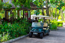 Electric Golf Cart At The Summer Luxury Resort.
