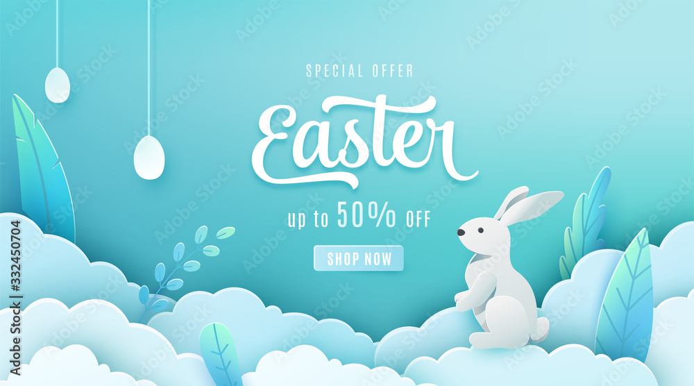 Fototapeta Easter sale banner background. Paper cut style holiday discount offer template with pink cloud, red leaves, white egg, bunny. Spring vector backdrop with typography promo text