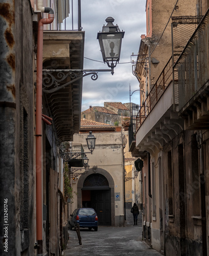 Acireale cityscape. View to Historical Buildings. Sicily, Italy. Canvas Print