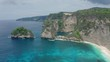 Aerial view of ocean and mountains at Diamond beach, Nusa Penida, Indonesia