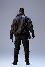Back View Of Cyberpunk Player ...