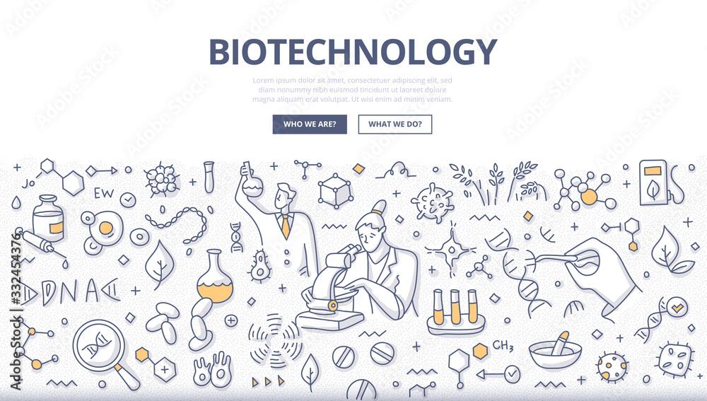 Fototapeta Biotechnology Doodle Concept