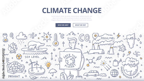 Slika na platnu Climate Change Doodle Concept