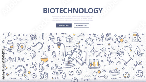 Stampa su Tela Biotechnology Doodle Concept