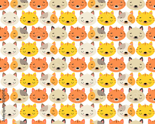 Cute vector illustration with cats of different breeds. Seamless pattern. Background. Adorable cartoon pets faces. For design, print on fabric, wallpaper, children's decor.