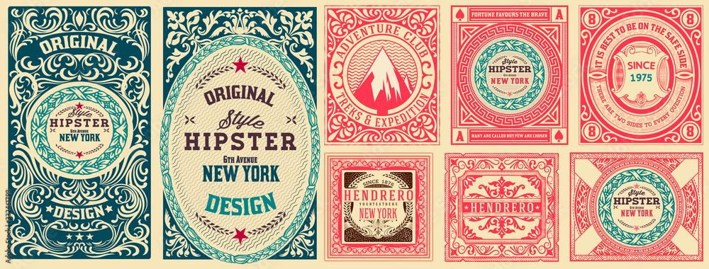 Fototapeta Set of 8 vintage labels. Vector layered
