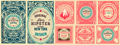 Set of 8 vintage labels. Vector layered - fototapety na wymiar