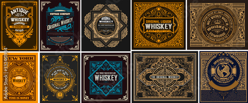 Fototapety, obrazy: Mega set of 10 vintage labels. Vector layered