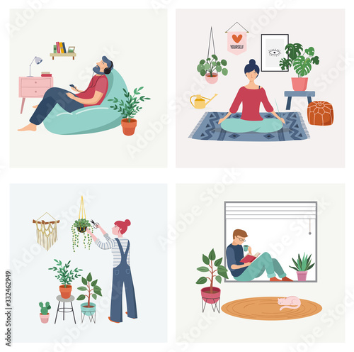 Obraz Quarantine, stay at home concept series - people sitting at their home, room or apartment, practicing yoga, enjoying meditation, relaxing on sofa, reading books, baking and listening to the music.  - fototapety do salonu