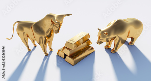 Foto Goldener Bulle und Bär mit Goldbarren