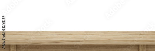 Fototapeta Empty old wooden table top isolated on white background  with clipping path, Use as products display montage. Vintage style concept free space use for your copy and branding.3d illustration obraz