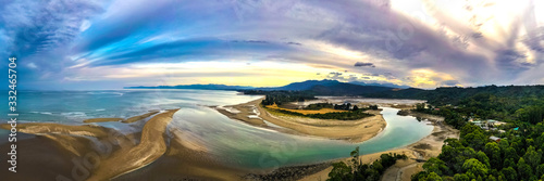 Ultra wide HDR Panorama of River estuary with mountains in the background Canvas Print