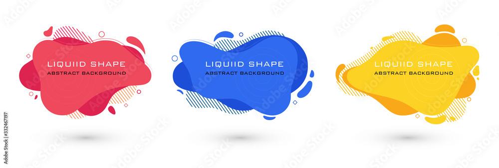 Fototapeta Set of abstract liquid shape graphic elements. Colorful gradient fluid design. Template for presentation, logo, banner. Vector illustration.