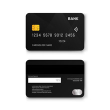 Realistic Black Plastic Debit Card Vector Design.