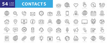 Set Of 54 Contact Us Web Icons...