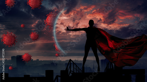 Fotomural Portrait of young hero woman with super person red cape protect city