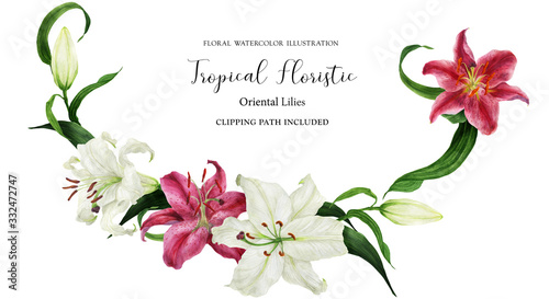 Fotografija Tropical floral watercolor garland with oriental lilies