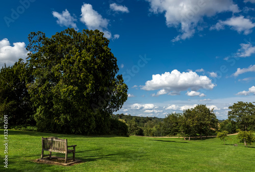 Fototapeta Wooden bench in Great Tew, Oxfordshire, Cotswolds, England