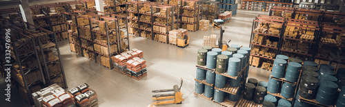 interior of a large warehouse with stored material and means for moving the pallets Canvas Print