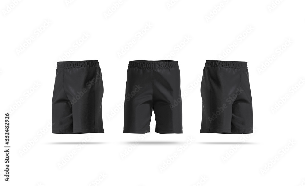 Fototapeta Blank black soccer shorts mock up, front and side view